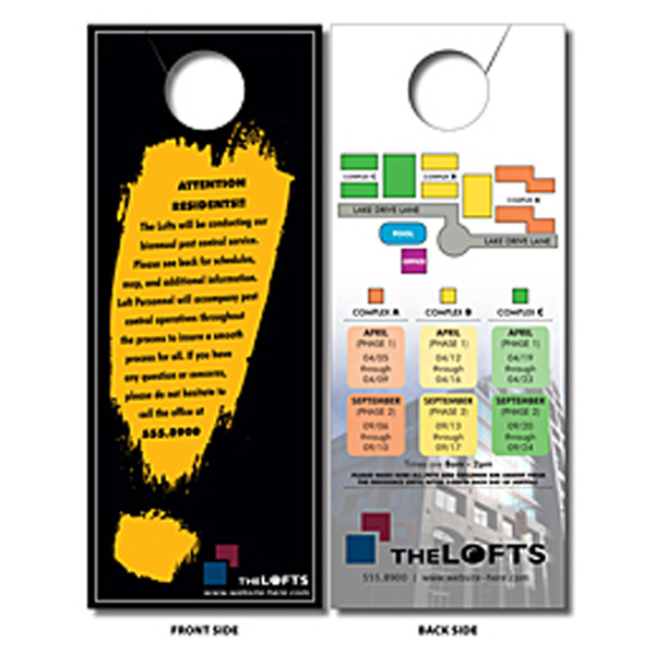 Printed Plastic Door Hanger - 4x10 Extra-Thick Laminated with Slit