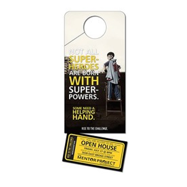 Promotional Plastic Door Hanger - 4x10 Laminated with Slit - 14 pt