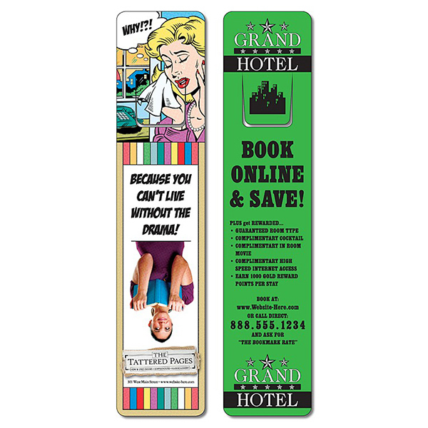 Promotional Plastic Bookmark - 1.75x8 Laminated w/Page Holder - 14 pt