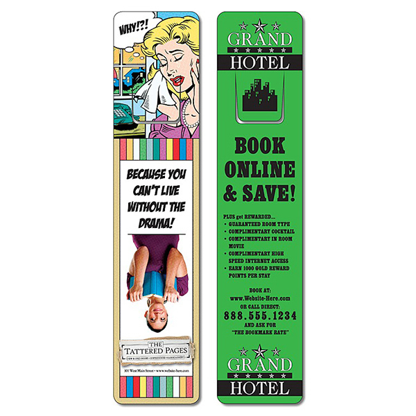Personalized Plastic Bookmark - 1.75x8 UV-Coated (1S) w/Page Holder