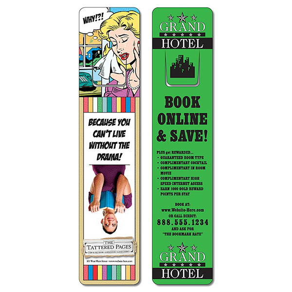 Customized Plastic Bookmark - Extra-Thick UV-Coated (1S) w/Page Holder