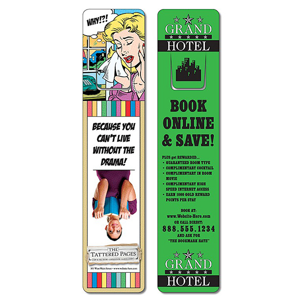 Personalized Bookmark - 1.75x8 UV-Coated (1S) w/Page Holder - 10 pt
