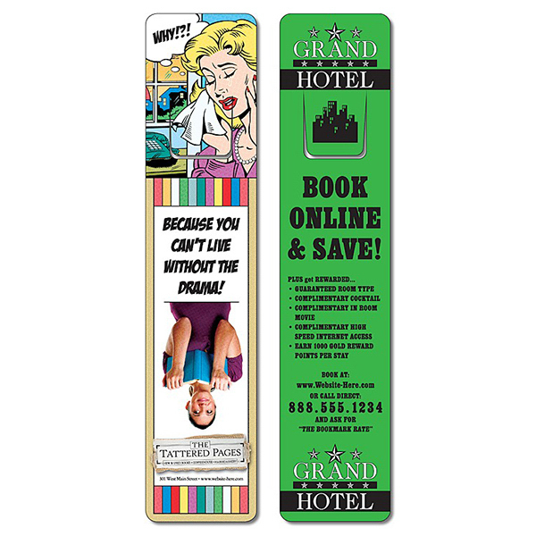 Custom Bookmark - 1.75x8 Extra-Thick Laminated w/Page Holder- 24 pt