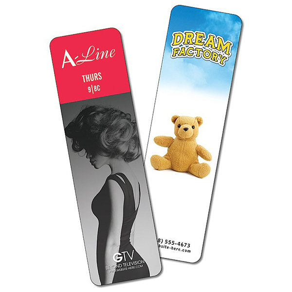 Customized Plastic Bookmark - 2x7 Extra-Thick UV-Coated (1S) - 14 pt