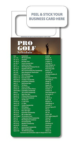 "Printed M.B.C. Sport Schedules - Pro Golf (3.5"" x 9"")"