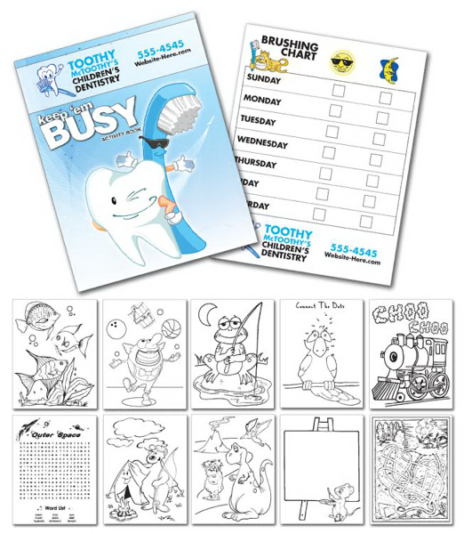 "Promotional Activity Coloring Book - 8.5"" x 11"" - (12-Page Dentist)"