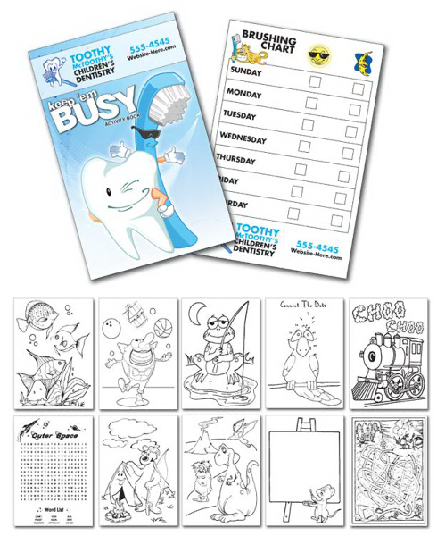 Imprinted Activity Coloring Book - 5.5x8.5 - (12-Page Dentist)