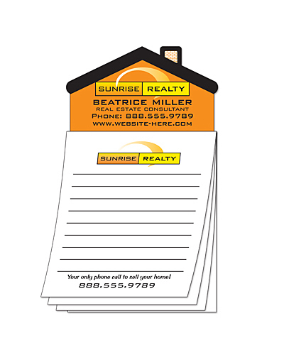 Personalized Custom Magna-Pad - 3.5x6.25 25-Sheet with House Shape Magnet