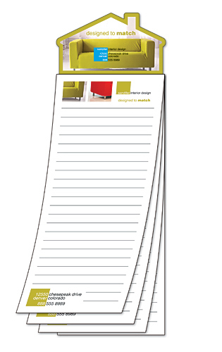 Printed Custom Magna-Pad - 3.5x10.5 25-Sheet with House Shape Magnet