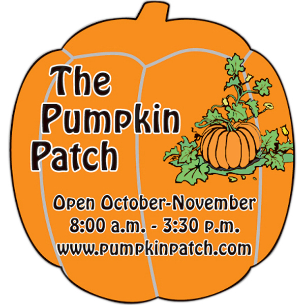 "Printed Magnet - Pumpkin Shape (1.875"" x 2"") - Outdoor Safe"