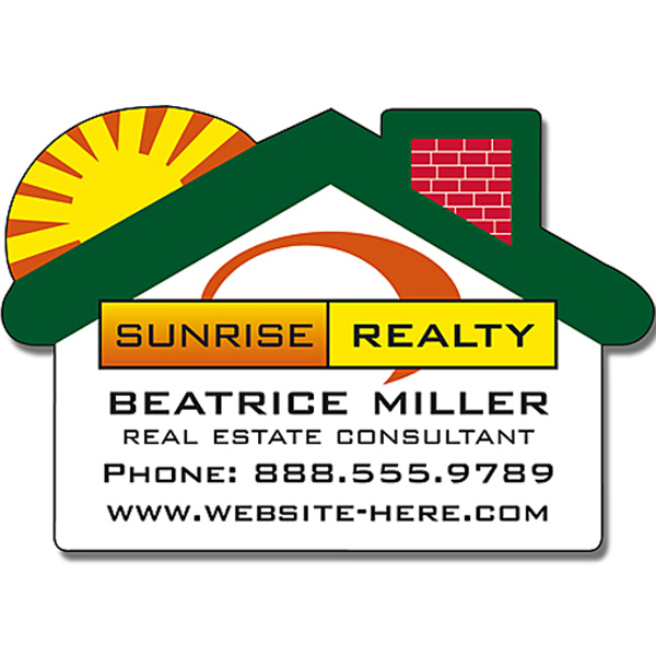 Personalized Real Estate Magnet with House Shape with Round Corner