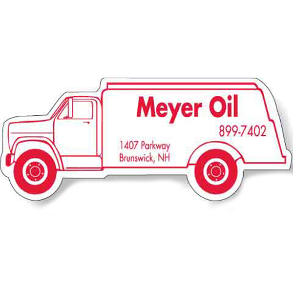 "Personalized Magnet - Oil Truck Shape (4.125"" x 1.625"") - Outdoor Safe"