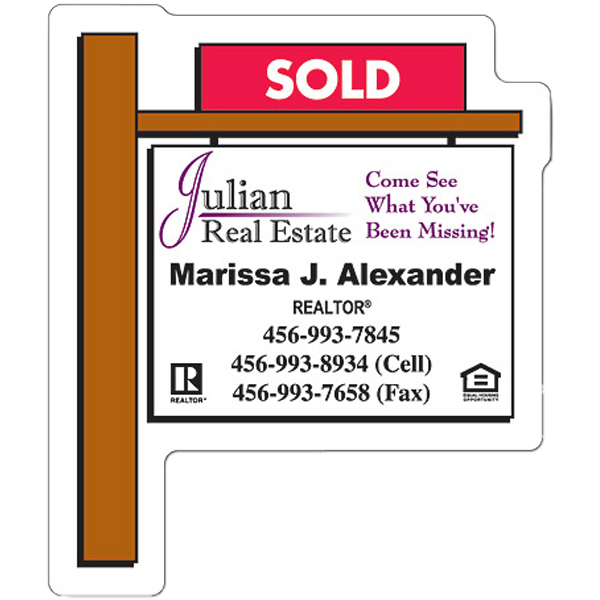 Imprinted Magnet - Real Estate Sold Sign Shape (2.25x2.75) - 25 Mil