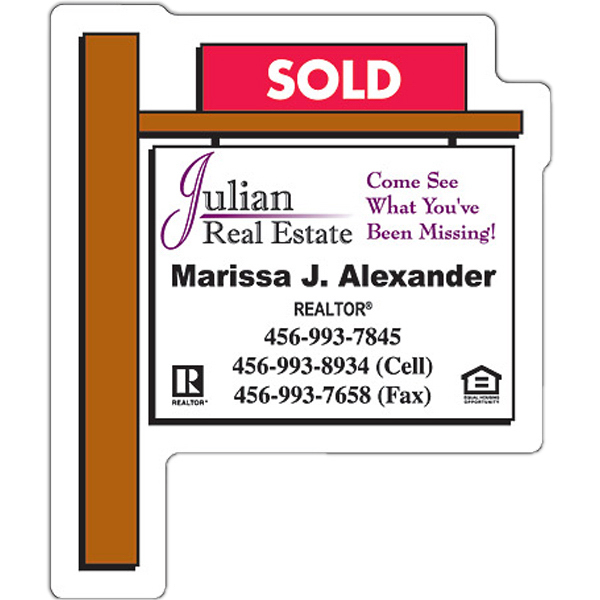 "Promotional Magnet - Real Estate Sold Sign Shape (2.25"" x 2.75"")"