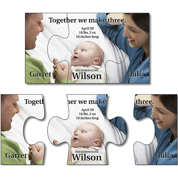 "Personalized Announcement Magnet - 3 Piece Puzzle Shape 3.5"" x 2"""