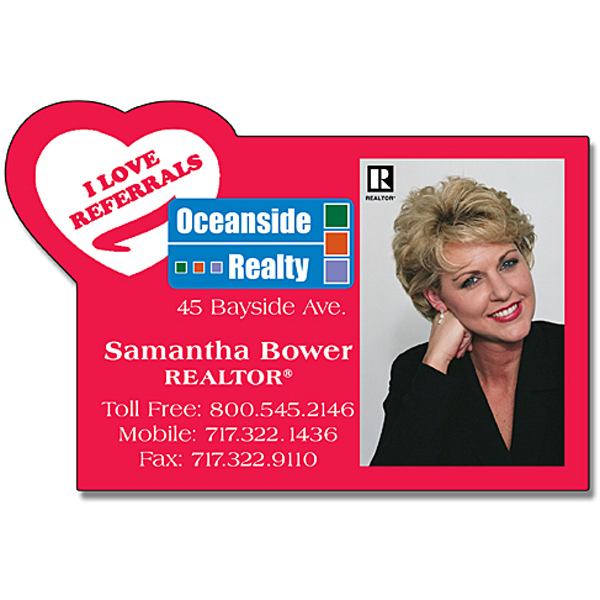 "Personalized Magnet - Square with Heart Corner Shape (3"" x 2.5"") - 20 Mil"