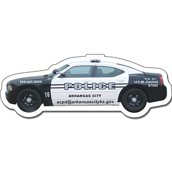 "Personalized Magnet - Police Car Shape (4.5"" x 1.65"") - 30 Mil"