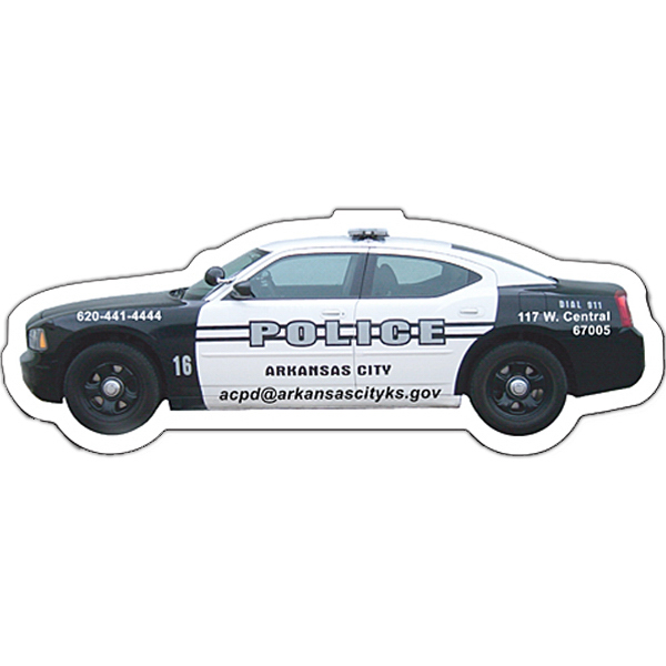 "Personalized Magnet - Police Car Shape (4.5"" x 1.65"") - Outdoor Safe"