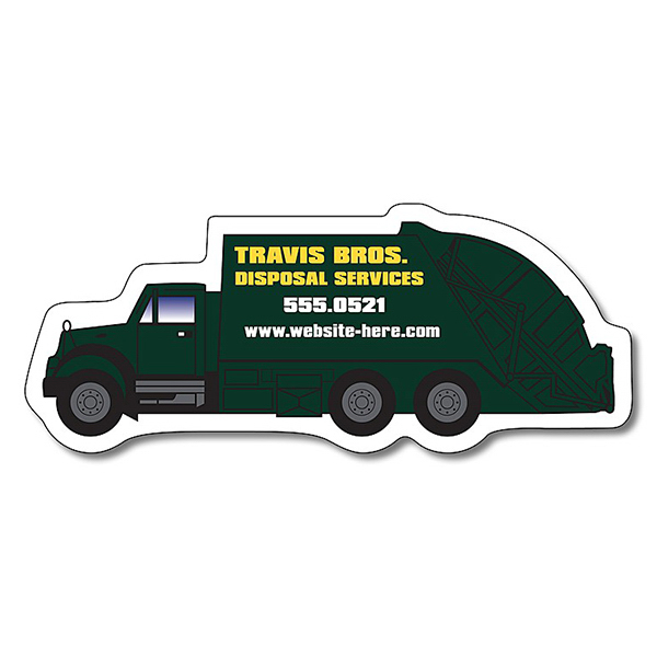 "Customized Magnet - Trash Truck Shape (4.25"" x 1.75"") - 20 mil"