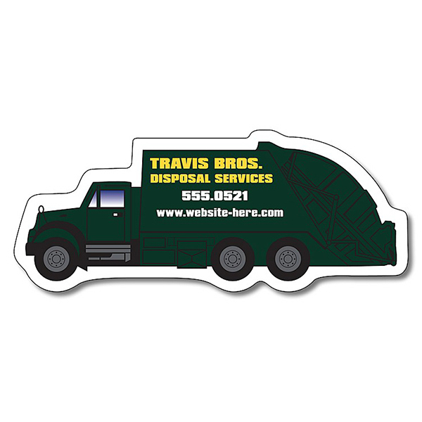 "Custom Magnet - Trash Truck Shape (4.25"" x 1.75"") - 25 mil"