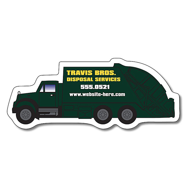 "Imprinted Magnet - Trash Truck Shape (4.25"" x 1.75"") - Outdoor Safe"
