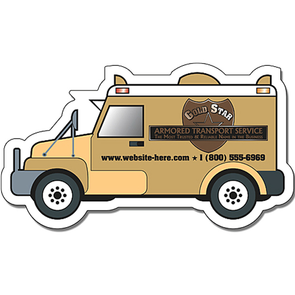 "Personalized Magnet - Armored Truck Shape (4"" x 2.25"") - 30 Mil"