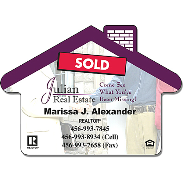 "Printed Real Estate Magnet - House Shape 3.5"" x 2.5"" - 25 Mil"