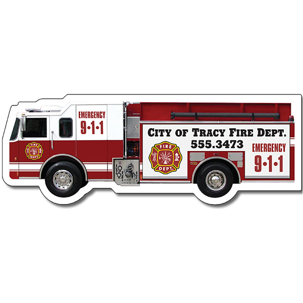 "Customized Magnet - Fire Truck Shape (5.125"" x 1.9"") - 20 Mil"