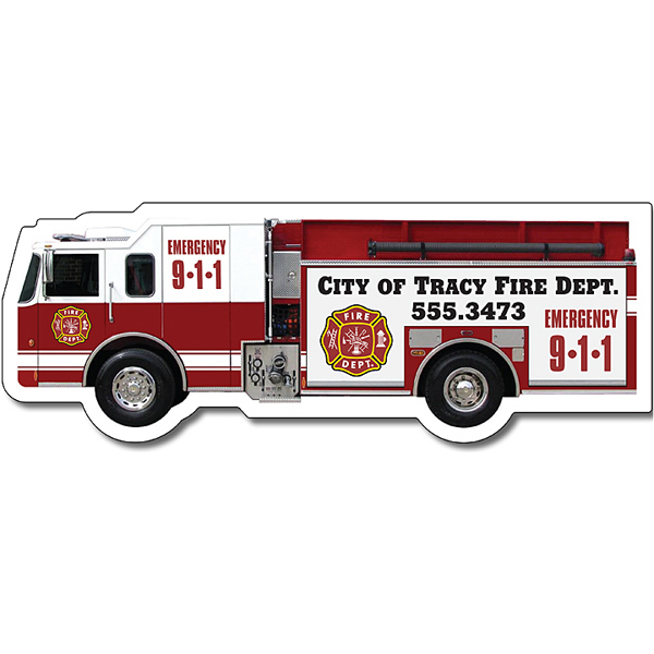 "Printed Magnet - Fire Truck Shape (5.125"" x 1.9"") - Outdoor Safe"