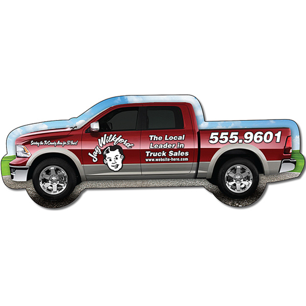 "Imprinted Magnet - Pickup Truck Shape (5.125"" x 1.9"") - Outdoor Safe"