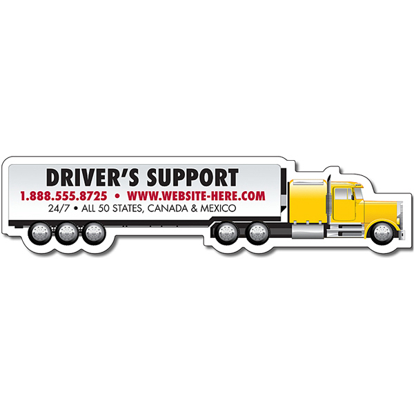 Personalized Magnet - Tractor Trailer Big Rig Semi Truck Shape - 30 Mil