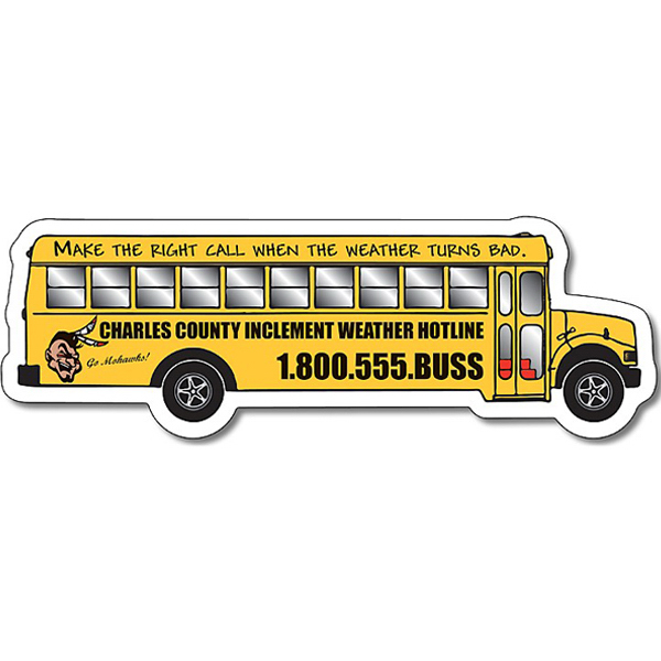 Custom School Magnet - School Bus Shape - 25 Mil