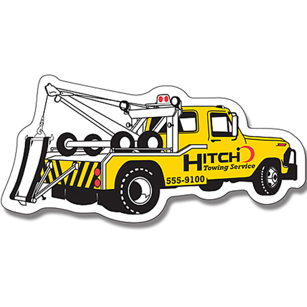 "Personalized Magnet - Tow Truck Shape (4.75"" x 2.25"") - Outdoor Safe"