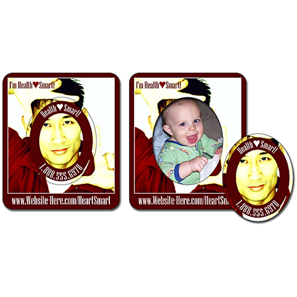 """Custom Picture Frame Magnet 3"""" x 3.5""""- Oval Punch - Outdoor Safe"""