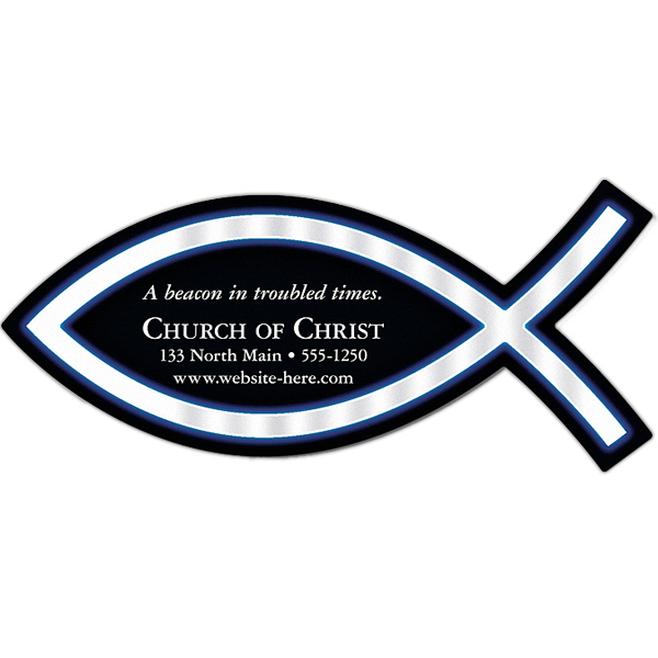 "Imprinted Magnet - Christian Fish Shape (4.825"" x 2.175"") - 25 Mil"