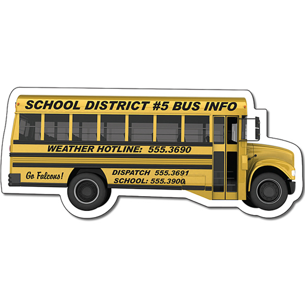 "Custom Magnet - School Bus Shape (4.88"" x 2.1214"") - Outdoor Safe"