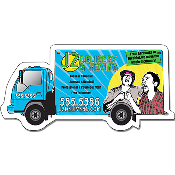 "Personalized Delivery Magnet - Truck Shape - 4.5"" x 2.25"" - 25 Mil"