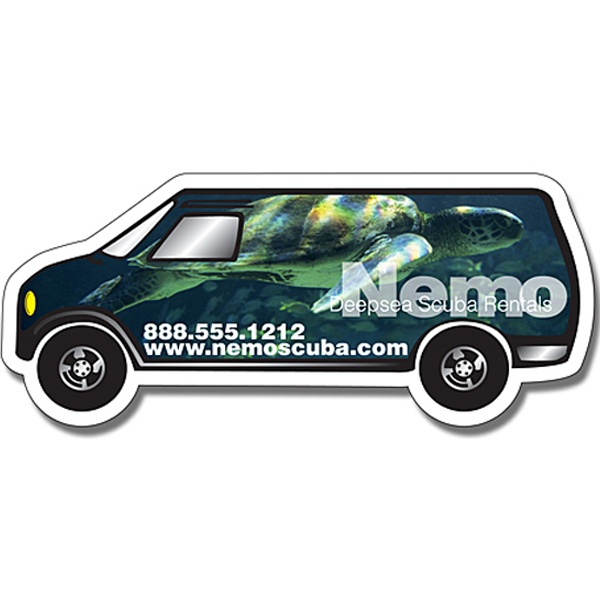 "Printed Magnet - Van Shape (5.25"" x 2.25"") - Outdoor Safe"