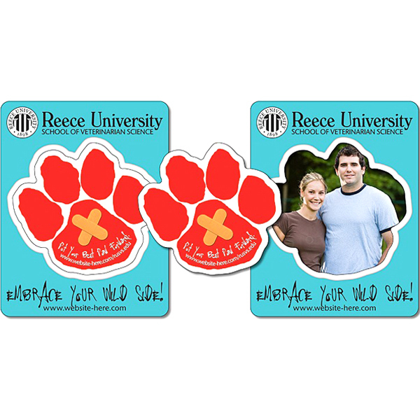 "Custom School Picture Frame Magnet 3.5"" x 4.5"" Paw Shape Punch"