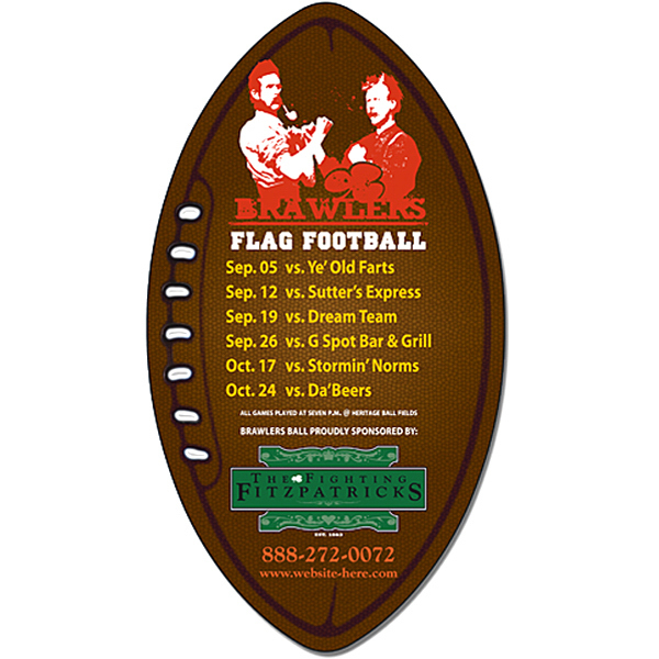 "Imprinted Magnet - Football Shape (3"" x 5.5"") - 25 Mil"