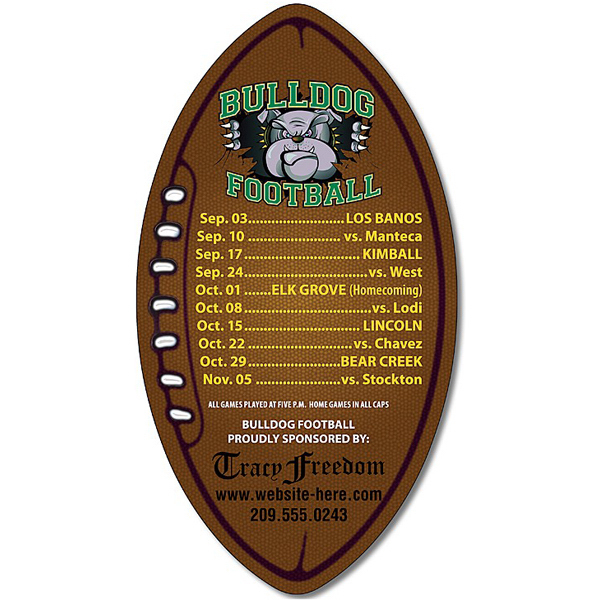 "Customized Magnet - Football Shape 3"" x 5.5"" - 20 Mil"