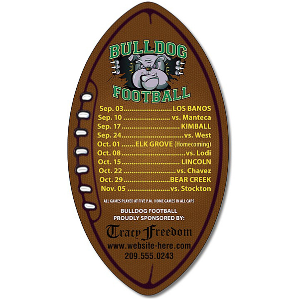"Custom Magnet - Football Shape 3"" x 5.5"" - 30 Mil"