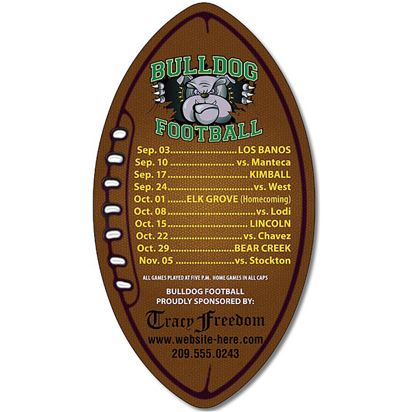 "Custom Magnet - Football Shape 3"" x 5.5"" Outdoor Safe"