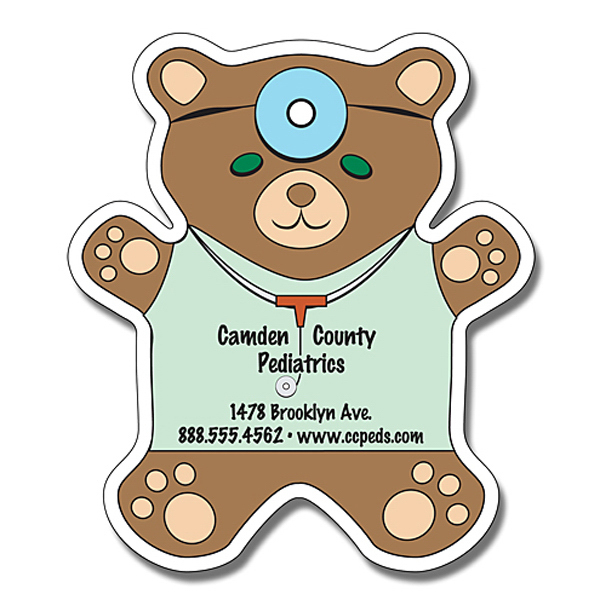 "Imprinted Magnet - Teddy Bear Shape 4"" x 4.625"" - 20 mil"
