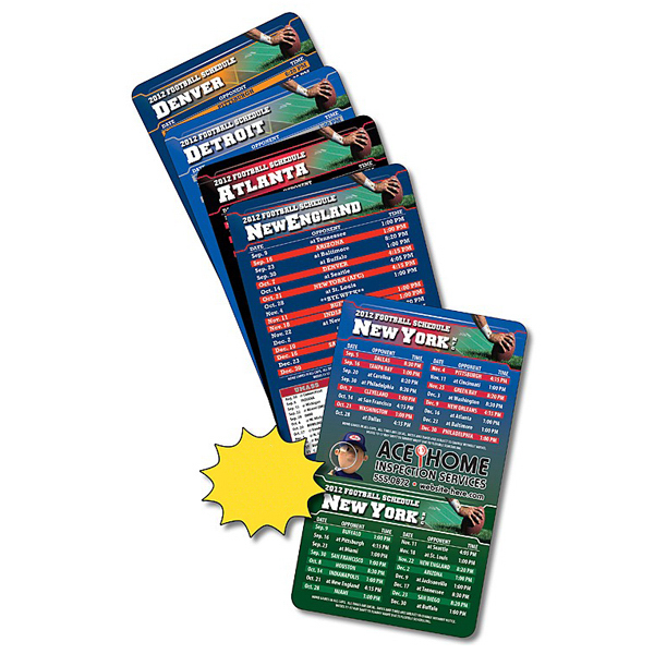 "Custom Magnet Sport Schedules 3.5"" x 6"" Football 30 Mil"