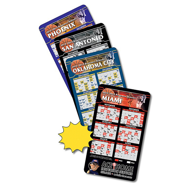 "Personalized Magnet Sport Schedule 3.5"" x 6"" Basketball 25 Mil"