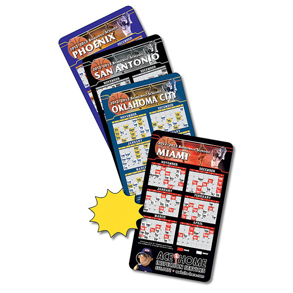 "Custom Magnet Sport Schedule 3.5"" x 6"" Basketball 30 Mil"