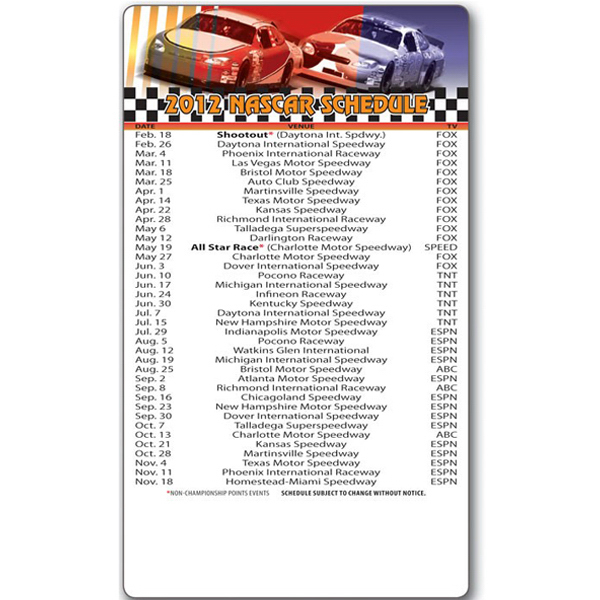 "Personalized Magnet Sport Schedule 3.5"" x 6"" NASCAR 20 Mil"