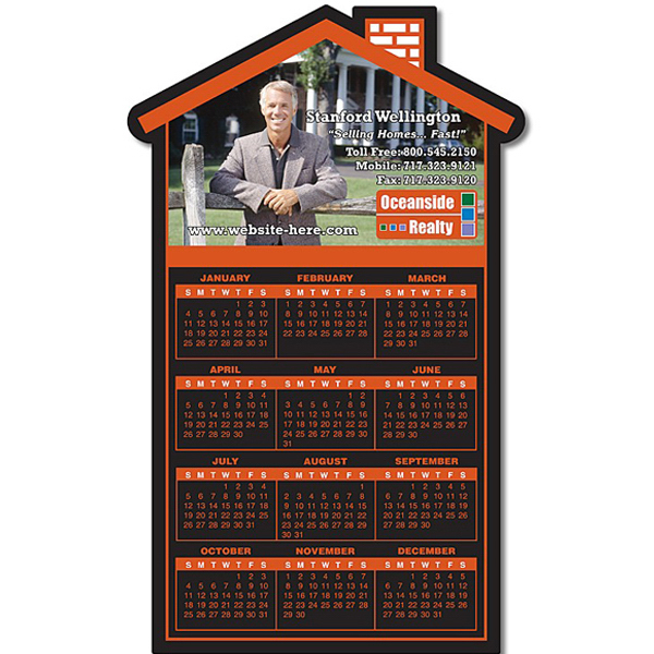 "Customized Real Estate Magnet - House Shape 3.75"" x 6.125"" - 25 mil"