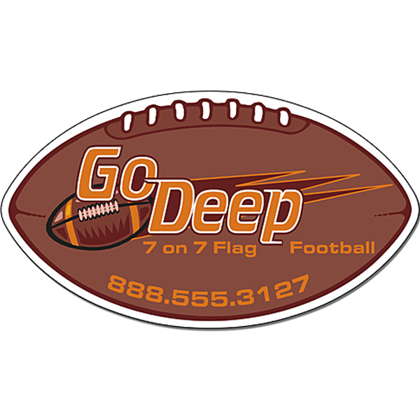 "Personalized Magnet - Football Shape 7"" x 4"" - Outdoor Safe"